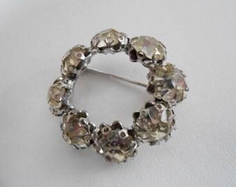 Vintage brooch, crystal circle brooch, 1940s retro brooch, madmen brooch, vintage jewelry, antique jewellery