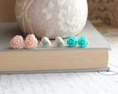 Flower Post Earrings Rose Stud Earrings Pale Pink Rose Earrings Teal Blue Rose Turquoise Heart Earrings Three Pairs