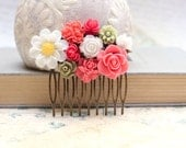 Flower Collage Comb Floral Hair Accessories Bright Spring Brass Metal Comb White Daisy, Coral Pink Red Rose, Green, White Rose