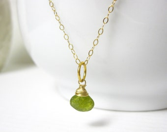 Vessonite Garnet - Lime Green Garnet Jewelry - 14k Gold Charms - Bright Green Gemstone Jewelry - Wire Wrapped Jewelry Handmade - JustDangles