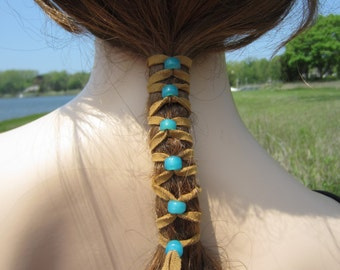 2 Suede Hair Wraps Ponytail Holders Beaded Bead Extensions Brown Turquoise Blue Z106