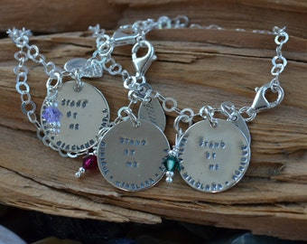 Friendship Bracelet -Sterling Silver Disk & Birthstones Personalized- Best Friends, Sisters, College Sororities - Stamp Names, Quotes, Dates