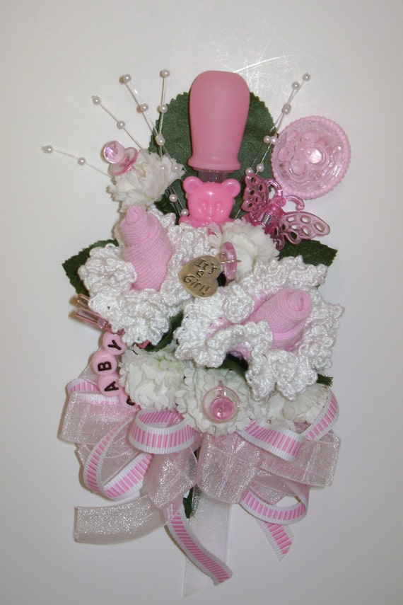 baby shower corsage frilly crocheted baby bootie corsage baby girl