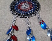 Red Blue Silver and Black Chainmaille Dreamcatcher / Windchime