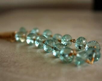 Aqua Rock Quartz Gemstone Bracelet Gold Filled Easy Clasp Free US Shipping