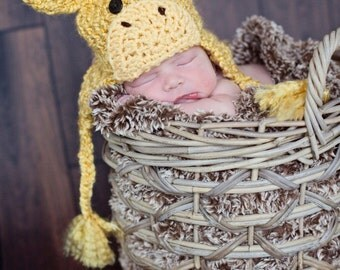 Giraffe Hat - Baby Giraffe Hat -  Baby Hats - Halloween Costume - Cute and Soft Earflap - by JoJosBootique