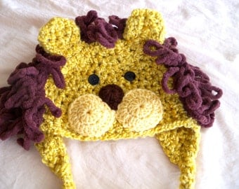 Baby Hat - Golden Lion Hat - Baby Lion Hat -  Baby Hats - Halloween Costume - Cute and Soft Earflap - by JoJosBootique