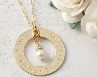 Personalized Necklace Washer Style Gold-Filled Family Name Open Circle with Pearl