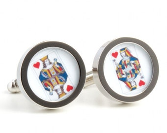 King and Queen of Hearts Cufflinks, Perfect Gift for Weddings and Valentines PC379/380