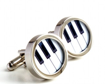 Piano Keyboard Cufflinks in Black and White for Musicians PC256