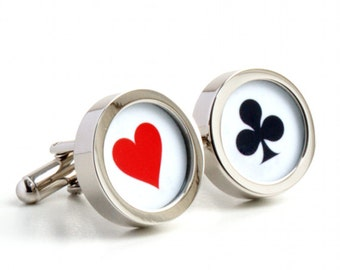 Poker Cufflinks, Choose Your Playing Card Suits PC383
