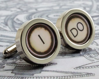 Wedding Cufflinks for the Groom 'I DO' in Vintage Typewriter Style