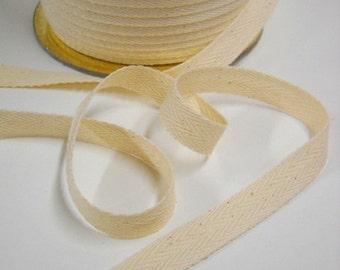 Cotton Twill Tape, 10 yds, Organic Cotton Trim, Half Inch Wide, Unbleached, Herringbone Cotton Trim, Sewing Notions