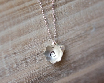 Initial Necklace - Personalized Handstamped Sterling Silver Flower - Freshwater Pearl - Birthstone - New Mom Gift