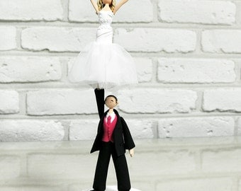 Cheerleader couple custom wedding cake topper gift decoration keepsake