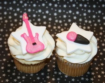 Fondant cupcake toppers Guitar and Microphone, Rock and Roll, Rocker girl