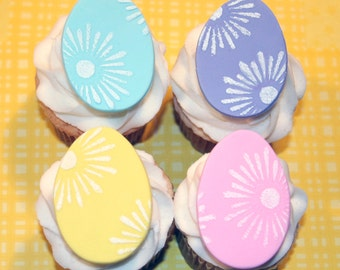 Fondant Cupcake Toppers Easter Egg Spring
