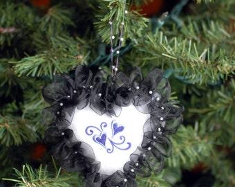 White Felt Heart Ornament