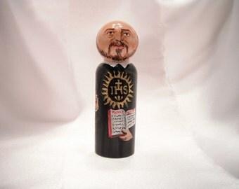 Saint Ignatius of Loyola - Catholic Saint Wooden Peg Doll Toy - made to order