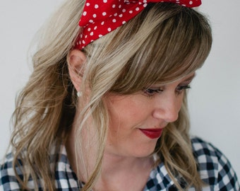 Dolly Bow, Red with White Polka Dots Wire Headband Flexible Rosie the Rivetor Halloween Teen gift Women 40s 50s hair