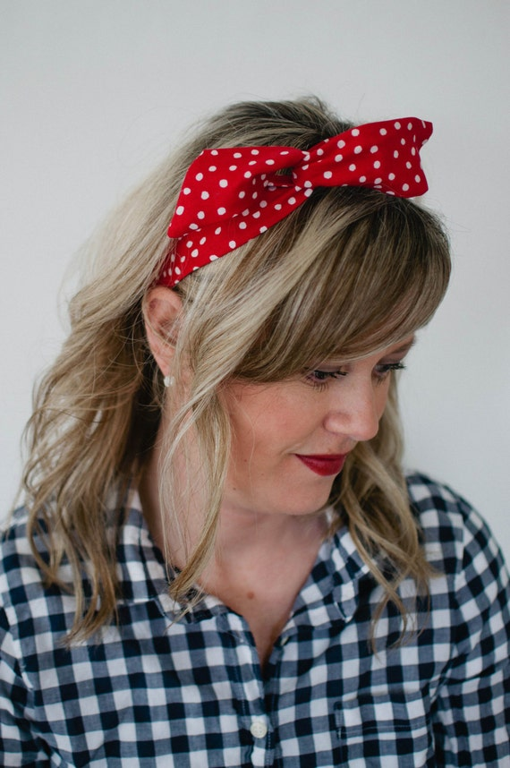 ZDMRB. Red and Black Polka Dot velvet wire headband with Bow.