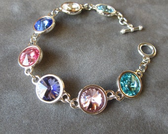 Personalized Birthstone Mother's Bracelet, Custom Grandmother's Jewelry, Mother's Day Gift Jewelry, Birthstone Bracelet