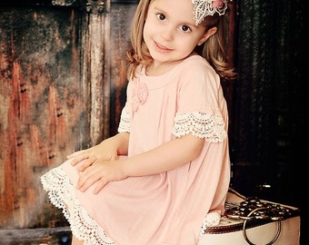 Teardrop Hat, Bronze gold, Ivory and Dusty Rose girls hat, Lace and Feather Fascinator, birthday hat, flower girl,