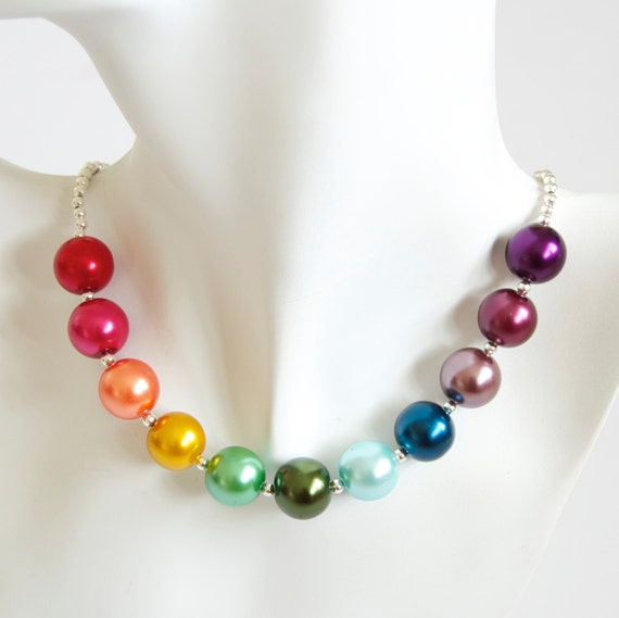 Rainbow Necklace Glass Pearl Beaded Necklace Multicoloured by The Candy Tree
