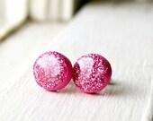 barbie pink sparkle stud earrings