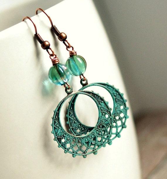 bohemian dream copper patina filigree drop earrings