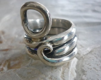 Gypsy Ring, Sterling Silver Ring, Wrapped Wire Ring, Bohemian Ring, Statement Ring, Silver Wire Ring, Hippie Ring, Large Silver Ring K#156