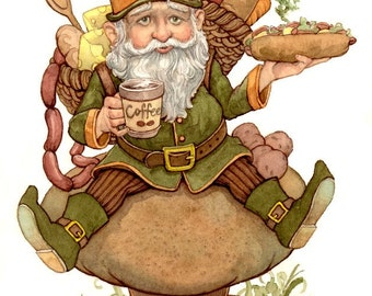 Gnome Gourmet Food 8.5x11 Signed Print Illustration