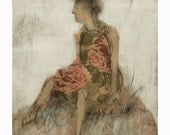 woman WAITING HILL art print of original  portrait figurative