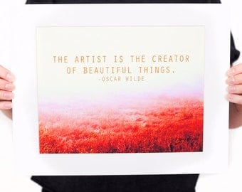 OSCAR WILDE Artist Quote Print (Literature Typography in Peaceful Field) Nature Wall Decor