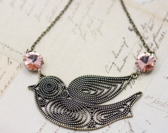 """Bird Necklace Crystal Necklace Peach Pink Statement Necklace Retro Vintage Inspired Jewelry Antique Brass Necklace 16"""" Jewelry Necklace"""