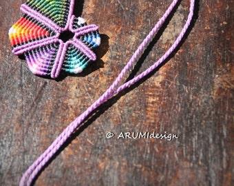 Small PURPLE RAINBOW SPIRAL fiber pendant, cavandoli macrame colorful adjustable necklace