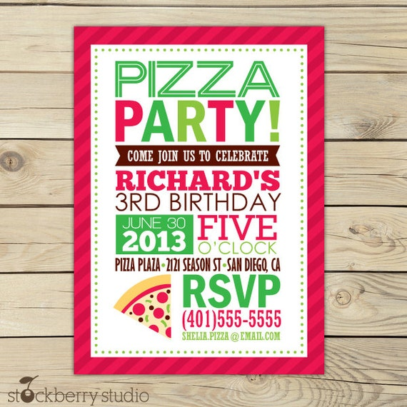 Pizza Party Invitation Printable Pizza Birthday Party