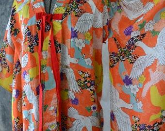 1960s Orange Silk Dove Print Kimono