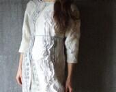 Grey felted dress, felted mini dress with three-quarters sleeve grey white ivory nunofelting  fashion, neutral nuno felted dress custom size