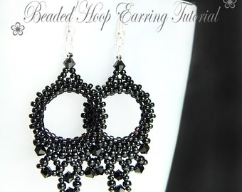 PDF beading tutorial pattern - Hoop earrings