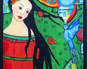 Half off Frida Kahlo with The Blue Bird of Hope and Happiness Painting Mixed media on canvas  Original Mexican Folk Art style