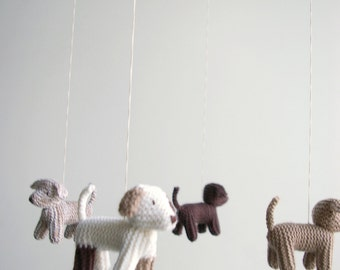 Baby crib mobile - dog mobile - FLYING PUPPIES- baby gift - made to order