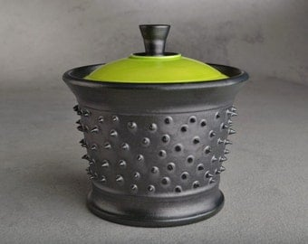 Spiky Sugar Bowl MADE TO ORDER Lidded Black and Neon Green Dangerously Spiky Sugar Bowl by Symmetrical Pottery