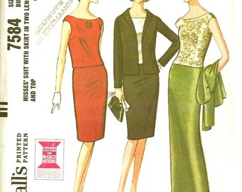 Vintage 1964 Mc Calls Sewing Pattern 7584 Misses Skirt with Suit in Two Lengths and Top Size 14