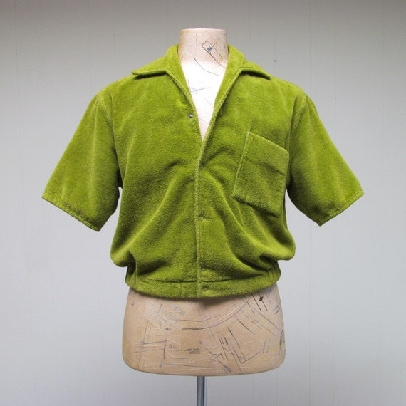 Vintage 1950s Cabana Jacket 50s Mens Olive Terry Cloth