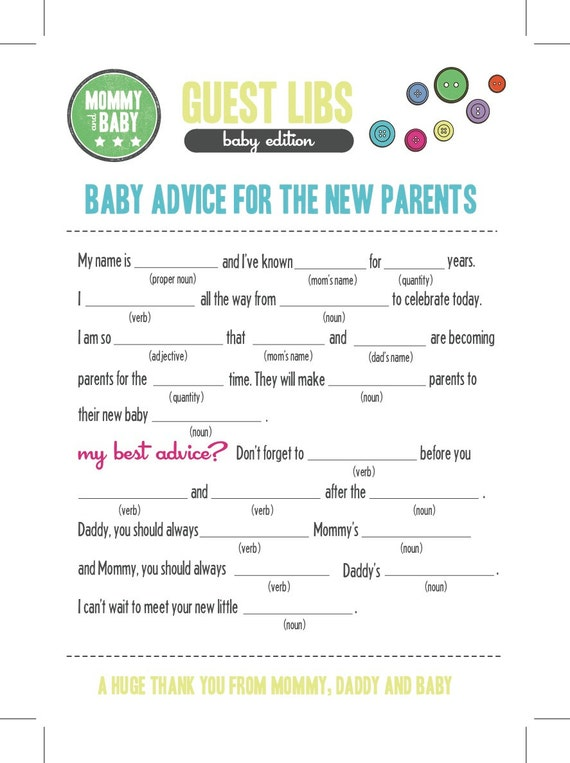 baby shower buttons mad libs cards mad libs card shower game guest