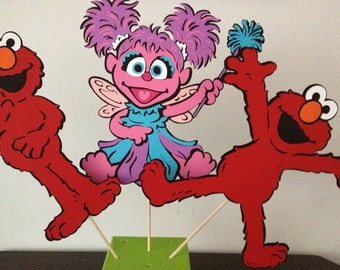 Large Elmo/Abby Cadabby Centerpiece Picks - Full body - Set of 3