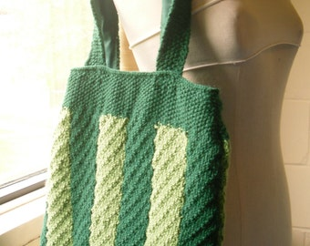Hand Knitted Tote Bag, Green Knitted Handbag