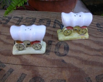 Set of Vintage Covered Wagon Salt and Pepper Shakers