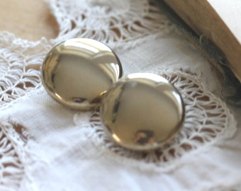 Round Clip On Earrings Vintage Shiny Gold Button Clip On Earrings - Mod 1960s Disc Earrings
